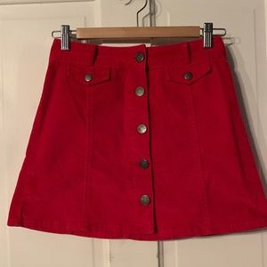Urban Red Corduroy Button Up Skirt